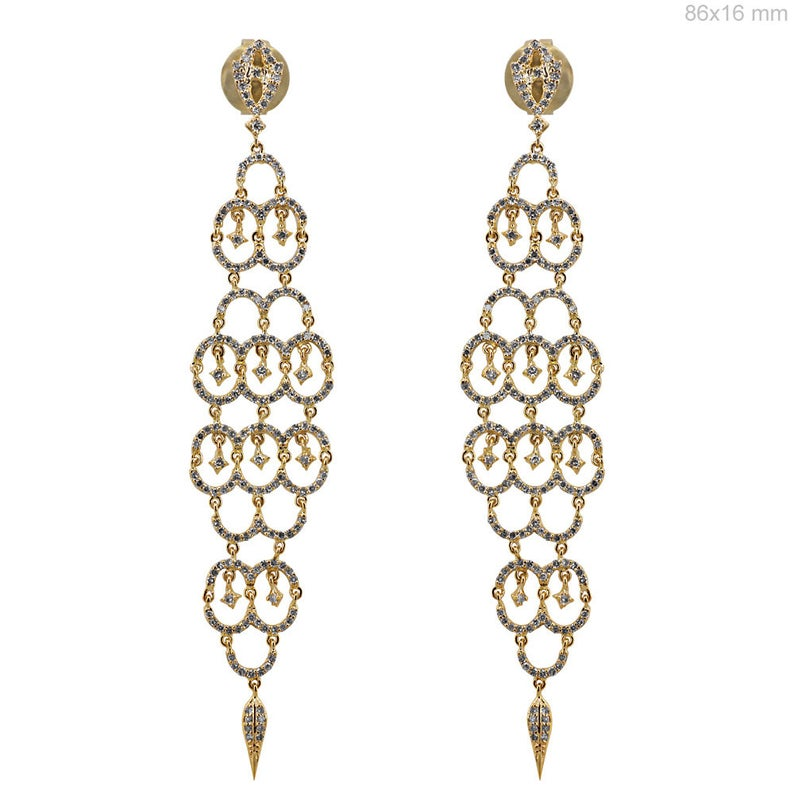 Designer Solid 18k Yellow Gold Chandelier Earrings 2.22 Ct Natural Diamond Pave Wedding Jewelry Bridal Jewellery, Gifts for Her