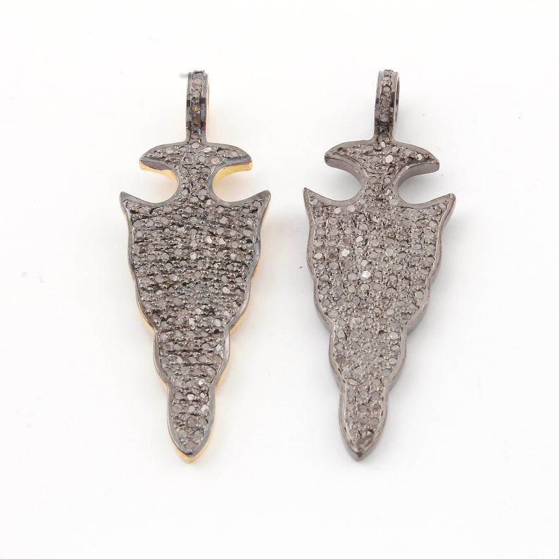 Pave Diamond Arrowhead Charm Pendant