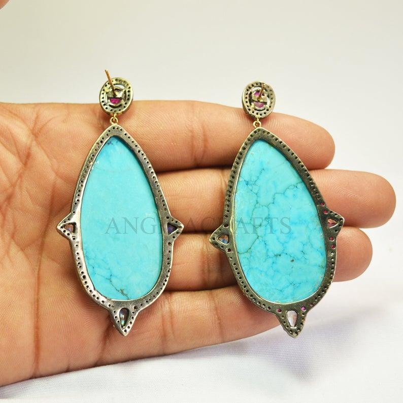 Turquoise Gemstone Solid 925 Sterling Silver Pave Micro Settings Diamond Earrings, Dangle Earrings, Diamond Dangle Earrings For Women's