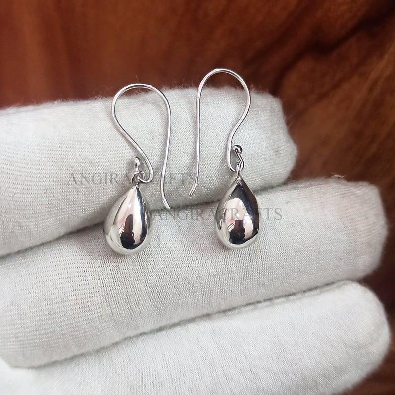 Sterling Silver Tear Drop Handmade Earrings Jewelry, EGG Shape Handmade Dangle Earrings Jewelry