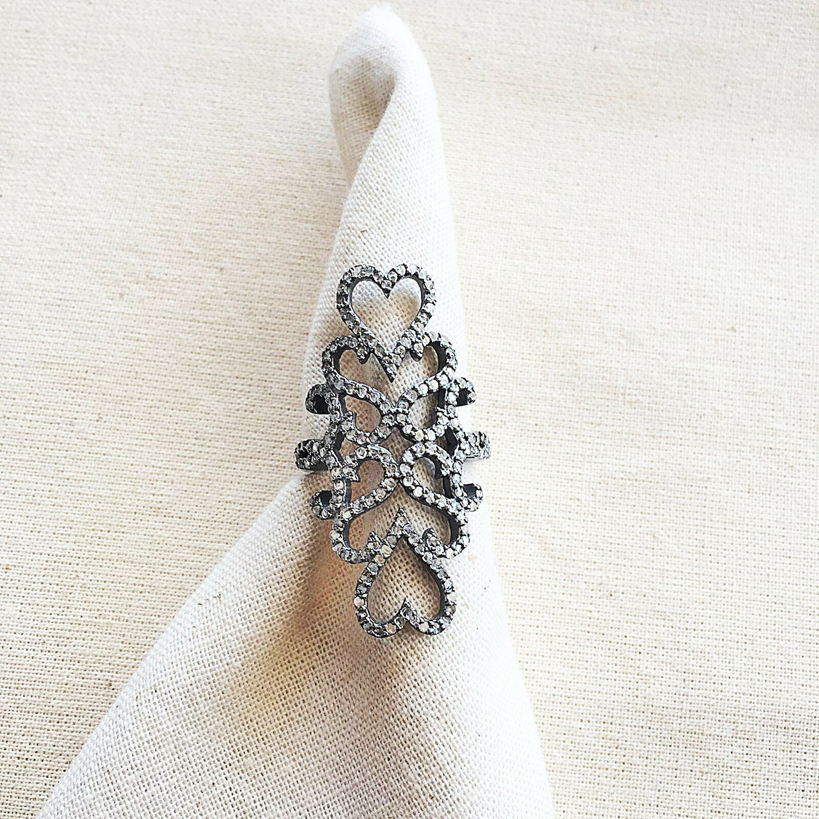 925 Sterling Silver Designer Natural Pave Diamond Studded Ring Fine Jewelry