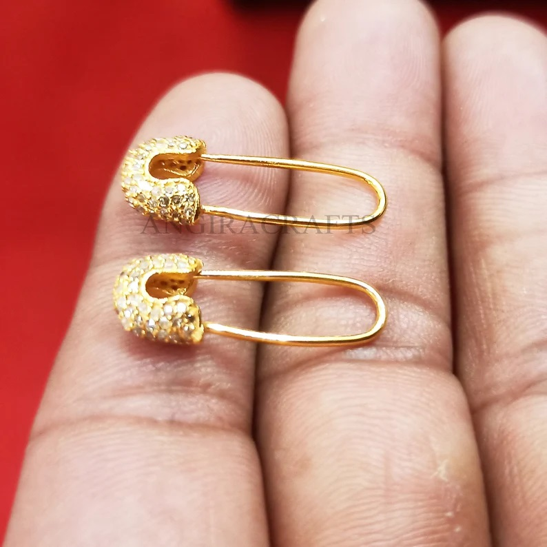 14k Gold Natural Pave Diamond Safety Pin Shape Earrings, Tiny Safety Pin Stud, 14k Gold Diamond Earrings Gift For Her