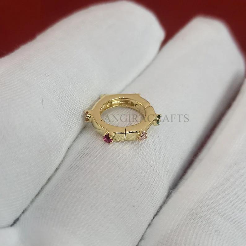 14K Gold Multisapphire Ball Push Lock Necklace, 14k Gold Enhancer, 14K Gold Enhancer, 14k Gold Charms Holder, 14K Gold Link Snap Lock