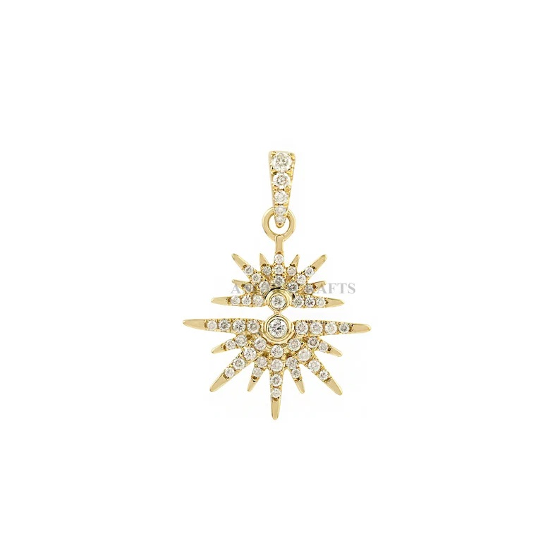 Pave Diamond Starburst Charm Pendant 18k Yellow Gold Fine Jewelry, 18k Gold Starbrust Pendant Jewelry