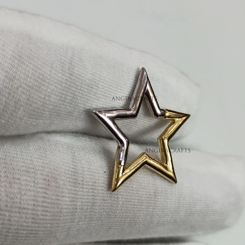 Half Silver Half Gold Star, New Star Connector Lock, Half Silver & Half Gold Star, 925 Silver Star Push Lock Jewelry, Star Connector