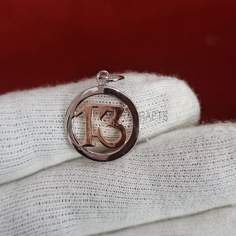13' Luck Charms, Silver 13 Luck Charms Pendant Jewelry, Sterling Silver Lucky Charms, Handmade 13 Charms Pendant