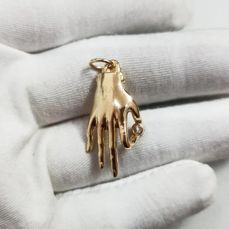 925 Sterling Silver Figa Hand Pendant Jewelry, Silver Charms, Gemstone Figa Pendant Jewelry, Ruby Figa, Emerald Figa